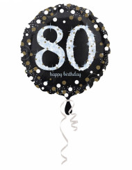 Palloncino alluminio Happy Birthday scintillante 80 anni