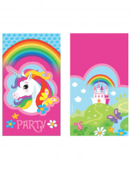 8 inviti e buste unicorno arcobaleno