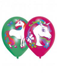 6 Palloncini in lattice unicorno colorati