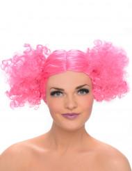 Parrucca con code rosa per donna