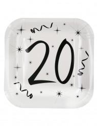10 piatti quadrati in cartone 20 anni 23 cm