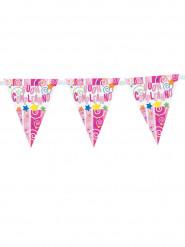 Ghirlanda di plastica Buon compleanno rosa