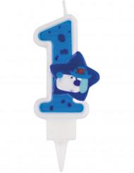 Candelina numero 1 piccolo pirata blu