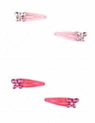 2 fermagli rosa con farfalle bambina