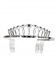 Diadema argentato metallico da principessa per adulto