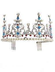 Diadema deluxe da principessa argento con perle per adulto