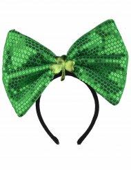 Cerchietto con fiocco verde a paillettes adulto