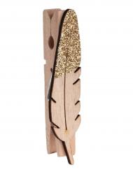 8 mollette di legno piume con brillantini oro