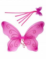 Ali da farfalla rosa e bacchetta magica per bambina
