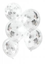 5 palloncini in lattice con stelle argentate