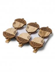 6 mollette con ghianda in legno