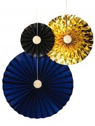 3 rosoni di carta oro, blu e nero