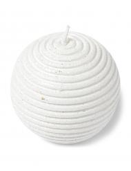 Candela sferica con brillantini bianca