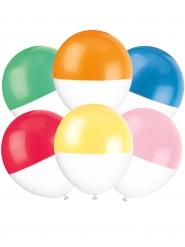 6 palloncini bicolore in lattice