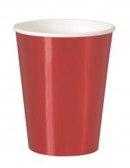 8 bicchieri in cartone rosso metallizzato 25 cl