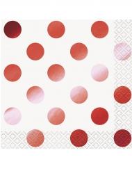16 tovagliolini di carta pois rosso metallizzato