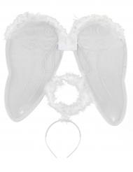Kit angelo bianco con ali e aureola per adulto