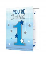 8 inviti di compleanno 1 anno Little Star blu