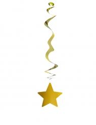 6 sospensioni metallizzate color oro con stella
