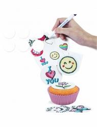 16 mini dischi di zucchero bianchi da personalizzare