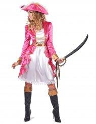 Costume da pirata barocco in rosa per donna