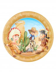 6 piatti in cartone cowboy e indiani 23 cm