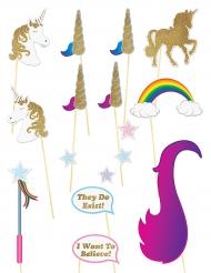 16 accessori photobooth tema unicorno