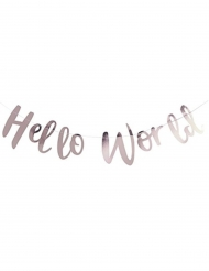 Banner Hello World color oro rosa