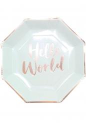 8 piatti Hello World color menta e oro rosa 23 cm