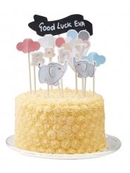 11 decorazioni in cartone per torta piccolo elefante