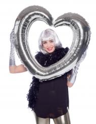 Palloncino alluminio cornice a forma di cuore argento