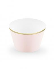 6 pirottini per cupcakes rosa chiaro con bordo dorato