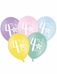 6 palloncini colorati My 4th birthday