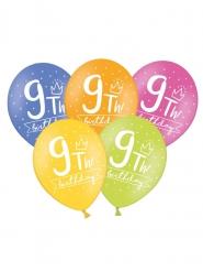 6 palloncini colorati My 9th birthday