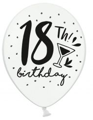 6 palloncini bianchi e neri 18th Birthday