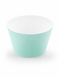 6 pirottini per cupcakes in cartone color menta
