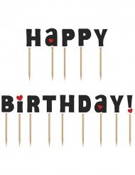 14 decorazioni per torta su stecchino Happy Birthday