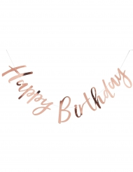 Festone Happy Birthday rosa metallizzato 1,8 m