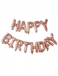Palloncino con lettere Happy Birthday oro rosa