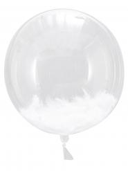 3 palloncini giganti con piume bianche