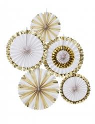 5 rosoni bianchi e oro metallizzato