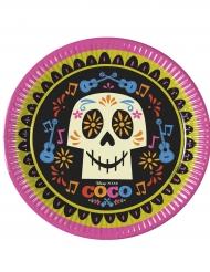 8 piatti in cartone rosa, verde e nero Coco™ 23 cm