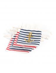 4 sacchetti di lino a righe con ancora dorata