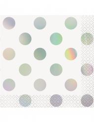 16 tovagliolini di carta bianchi con pois iridescenti