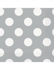 16 tovaglioli di carta grigi con pois bianchi