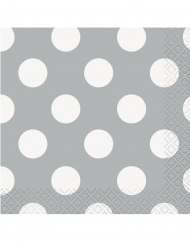 16 tovagliolini di carta grigi a pois bianchi