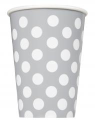 6 bicchieri in cartone grigi a pois bianchi