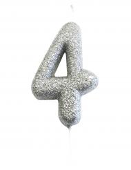Candelina numero 4 brillantini argento