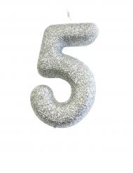Candelina numero 5 brillantini argento