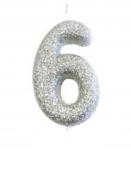 Candelina numero 6 brillantini argento